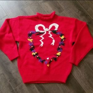 Red Heart Wreath Ugly Christmas Sweater